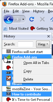 Viewing the browsing history - Firefox - MozillaZine