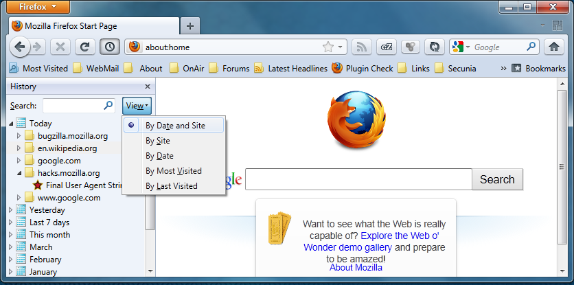 Viewing The Browsing History Firefox Mozillazine Knowledge Base
