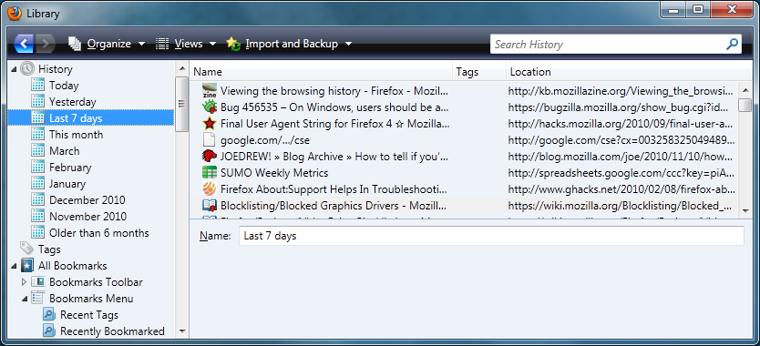 Viewing the browsing history - Firefox - MozillaZine Knowledge Base
