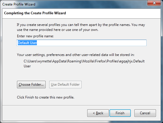 Creating a new Firefox profile on Windows - MozillaZine